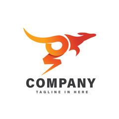 orange Fast jump kangaroo electric logo design inspiration