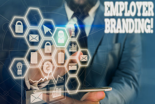 Writing note showing Employer Branding. Business concept for promoting company employer choice to desired target group Picture photo network scheme with modern smart device
