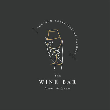 Vector design linear template logo or emblem - female hand holding glass of wine. Abstract symbol for wine bar or sommelier courses.