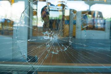 Broken Glass Pane. The broken glass window the shop
