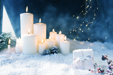 Christmas decoration in snowy winter night Wall mural