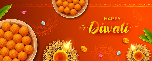 Wall Mural - illustration of burning diya with assorted sweet and snack on Happy Diwali Holiday background for light festival of India