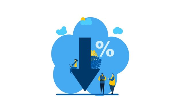Website or landing page of percent presses down arrow, percent drop with Tiny People Character Concept Vector Illustration, Suitable For web landing page,Wallpaper, Background, Card, banner,