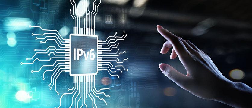 Ipv6 network protocol standard internet communication concept on virtual screen.