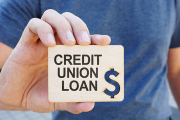 Conceptual photo showing printed text credit union loan