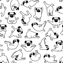 Cartoon Doodle Comic Outline Vector Seamless Pattern And Background  Of Zen Meditating Pug Pet Dogs In Yoga Pose and Asana, Namaste