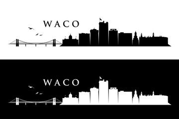 Fototapete - Waco skyline - Texas, United States of America, USA - vector illustration