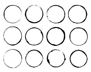 Vector set of grunge circle brush vector illustration