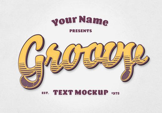 Groovy Retro Text Effect Mockup