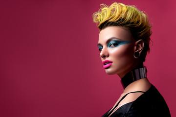 Beautiful girl look in glam rock style