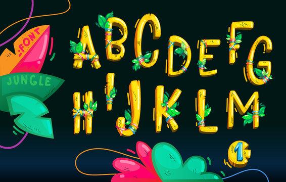 Jungle wood yellow font set on the dark background. Cartoon kids vector illustration