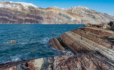 Amazing geological formation of the Eleonore Bay Supergroup at Segelsällskapet Fjord, East Greenland