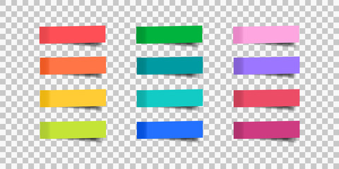 Set of sticky tapes. Post note stickers. Vector illustration.