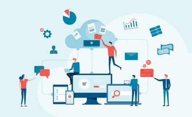 business technology cloud computing service concept and with developer team working concept