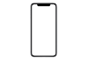 Studio shot of Smartphone iphoneX with blank white screen for Infographic Global Business Marketing investment Plan, mockup model similar to iPhone 11 Pro Max.