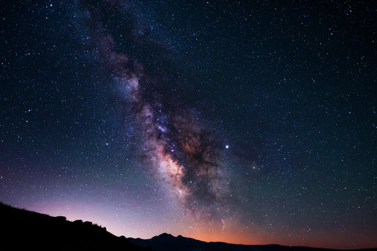 Beautiful milky way galaxy. Space background. Astronomical photo