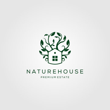 tree house nature logo vector design illustration