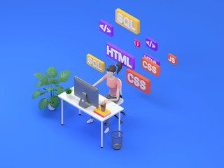 Young professional female programmer is working at a computer. Isometric 3d render, illustration for web page design.