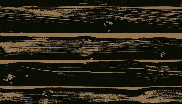 Weathered Dark Brown Wood Planks Vector Background. Wood Grain Overlay Texture.