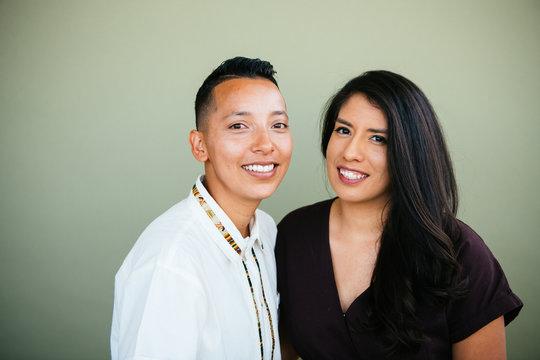 Portrait of queer couple in studio environment