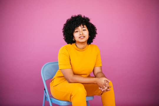 Portrait of an Afrolatina young woman in studio environment