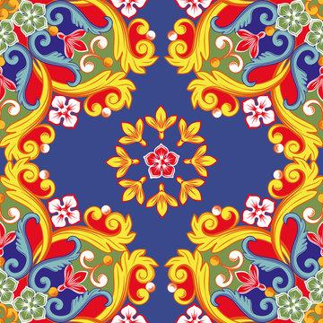 Seamless bright background. Colorful ethnic round ornamental mandala. Trendy pattern. Vector illustration
