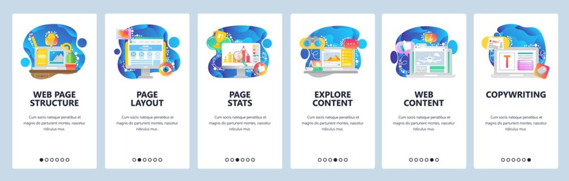Mobile app onboarding screens. Business chart, content marketing and web development. Menu vector banner template for website and mobile development. Site design flat illustration