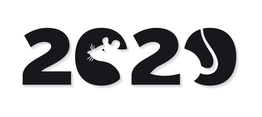 Logo 2020 happy new year, Christmas. Vector flat illustration with a silhouette image of a mouse. The rat is the talisman of the eastern calendar.
