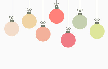 Christmas balls hanging ornaments background.