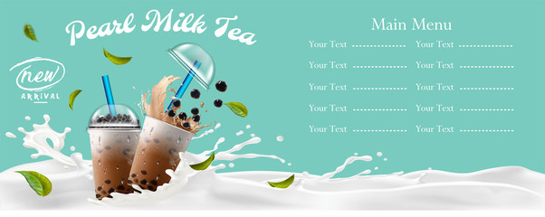 Bubble milk tea menu ads with delicious tapioca and pearl pouring into takeaway cup 3d illustration.