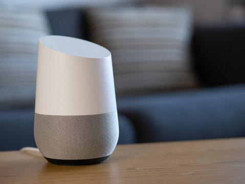 smart home voice activated speaker in living room environment