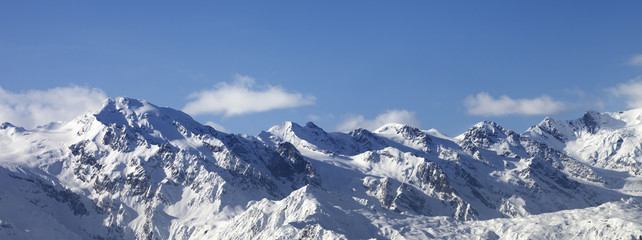 Fototapete - Winter mountains at nice sunny day. Caucasus Mountains.