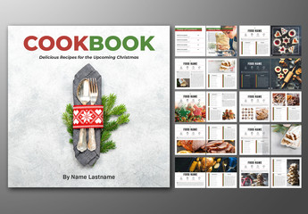Square Book Layout with Red and Green Accents