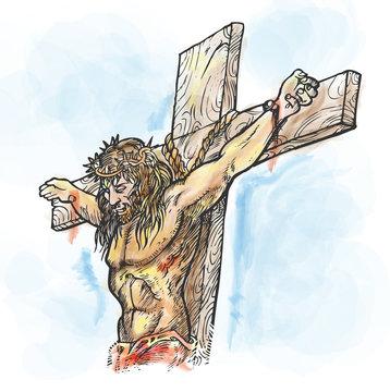 jesus watercolor  hand draw. illustration