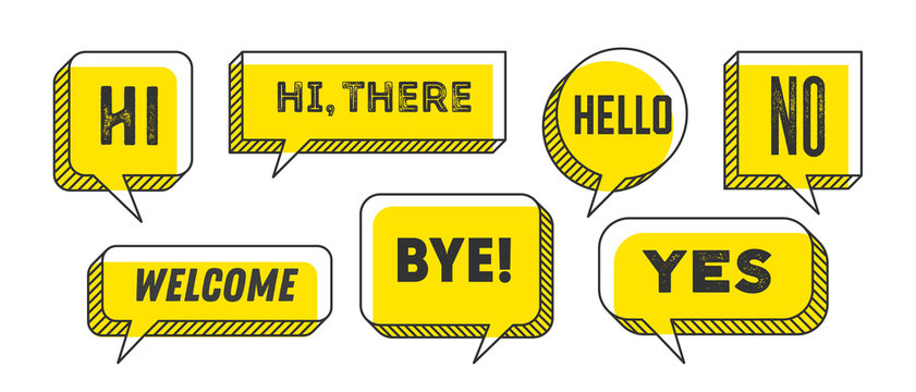 Speech Bubble. Set of 3d and 2d line speech bubble