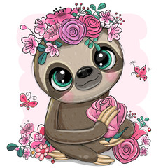 Cartoon Sloth with flowers on a white background