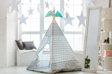 children's tent or wigwam with a dream catcher