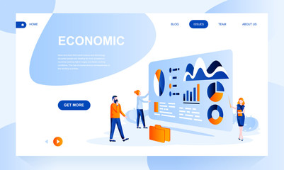 Economic flat landing page template with header. Analytics web banner, homepage design. Financial service vector illustration - fototapety na wymiar