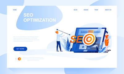 Seo optimization vector landing page template with header. Internet promotion strategy web banner, homepage design with flat illustrations Wall mural