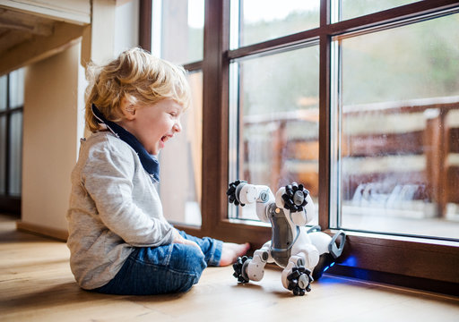 A cute toddler boy sitting indoors at home, playing with robotic dog.