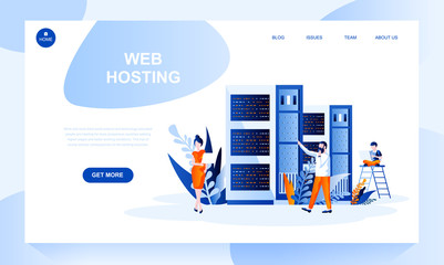 Web hosting vector landing page template with header. Website banner, homepage design with flat illustrations