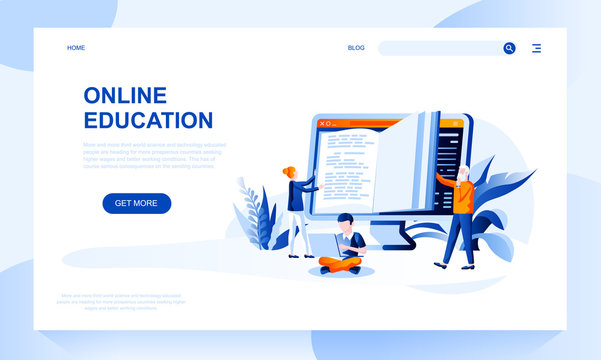 Online education vector landing page template with header. E learning web banner, homepage design with flat illustrations