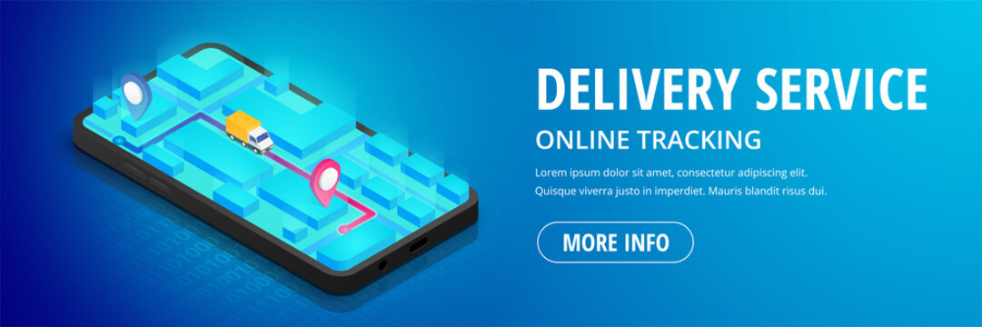 Delivery service isometric phone map banner