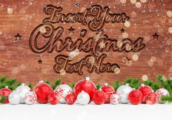 Wooden Text Effect Mockup with Christmas Decorations