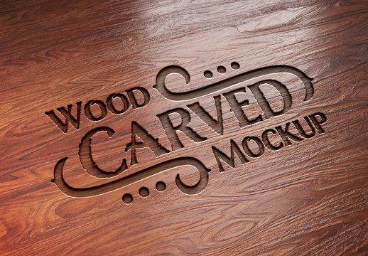 Carved Wood Text Effect Mockup