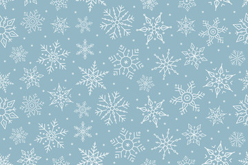 Wall Mural - Christmas snowflake seamless pattern ice on blue background.