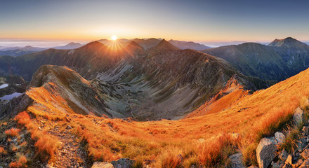 Beautiful colorful sunset over  Mountain landscape panorama, Rohace - Slovakia Tatras
