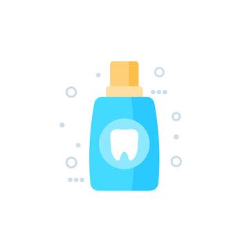 Mouthwash, oral rinse vector icon