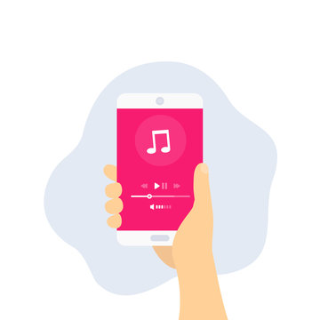 Music streaming player, mobile ui, phone in hand