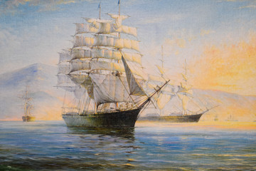 Tuinposter Schip Sailing ships in bay, oil painting on canvas